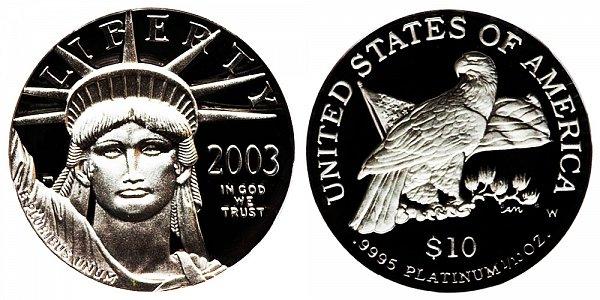 2003 W Proof Tenth Ounce American Platinum Eagle - 1/10 oz Platinum $10
