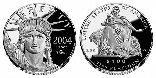 2004 W Proof One Ounce American Platinum Eagle - 1 oz Platinum $100