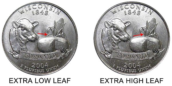 2004 D Extra Low Leaf vs High Leaf Wisconsin State Quarter - Difference and Comparison