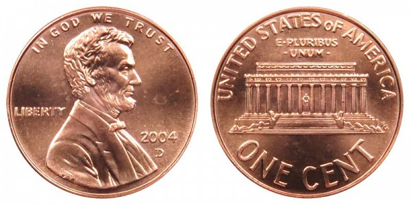 2004 D Lincoln Memorial Cent Penny