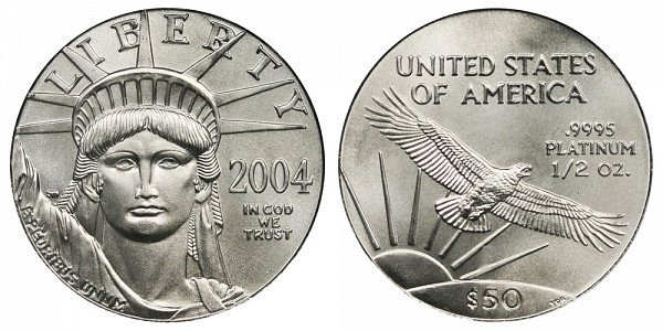 2004 Half Ounce American Platinum Eagle - 1/2 oz Platinum $50