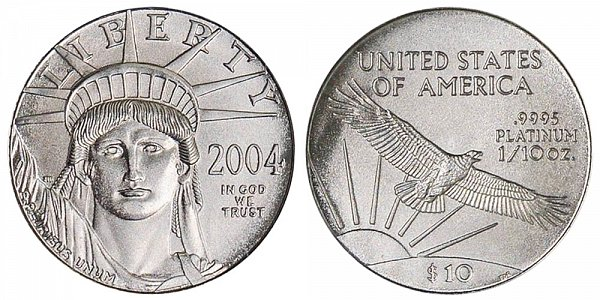 2004 Tenth Ounce American Platinum Eagle - 1/10 oz Platinum $10