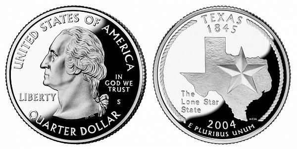 2004 S Silver Proof  Texas State Quarter