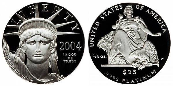2004 W Proof Quarter Ounce American Platinum Eagle - 1/4 oz Platinum $25