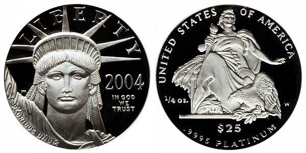 2004 W Proof Quarter Ounce American Platinum Eagle - 1/4 oz Platinum $25