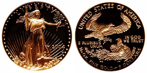 2004 W Proof Tenth Ounce American Gold Eagle - 1/10 oz Gold $5