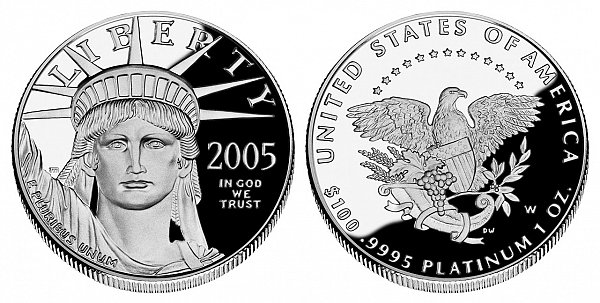 2005 W Proof One Ounce American Platinum Eagle - 1 oz Platinum $100