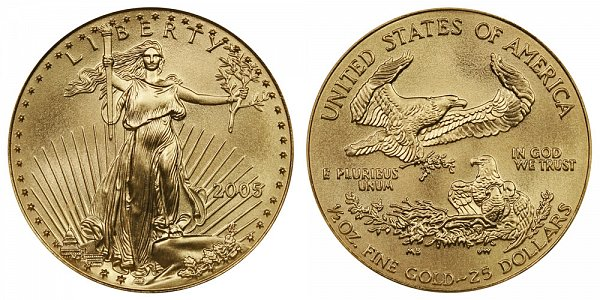2005 Half Ounce American Gold Eagle - 1/2 oz Gold $25