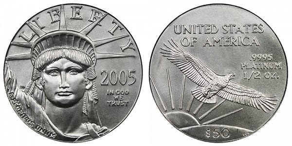 2005 Half Ounce American Platinum Eagle - 1/2 oz Platinum $50