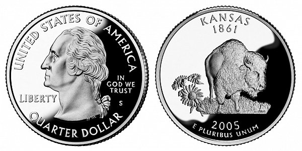 2005 S Silver Proof Kansas State Quarter