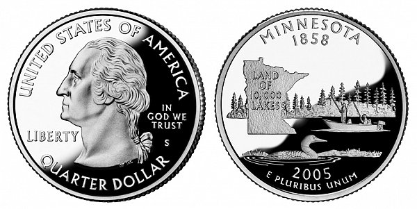2005 S Silver Proof Minnesota State Quarter