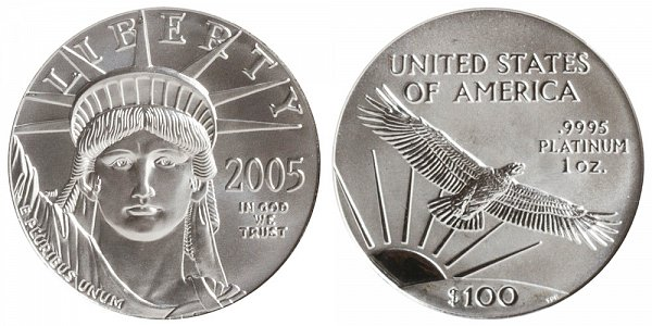 2005 One Ounce American Platinum Eagle - 1 oz Platinum $100