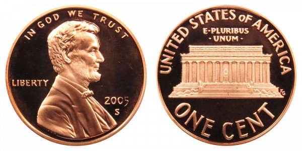 2005 S Lincoln Memorial Cent Penny Proof