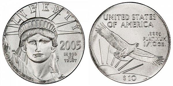 2005 Tenth Ounce American Platinum Eagle - 1/10 oz Platinum $10
