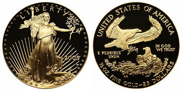 2005 W Proof Half Ounce American Gold Eagle - 1/2 oz Gold $25