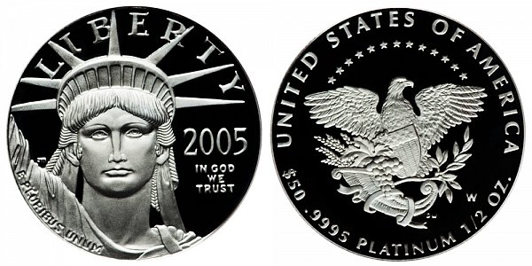 2005 W Proof Half Ounce American Platinum Eagle - 1/2 oz Platinum $50