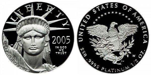 2005 W Proof Half Ounce American Platinum Eagle - 1/2 oz Platinum $50