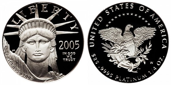 2005 W Proof Quarter Ounce American Platinum Eagle - 1/4 oz Platinum $25