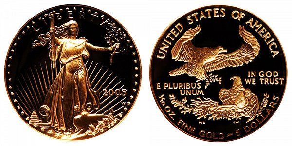 2005 W Proof Tenth Ounce American Gold Eagle - 1/10 oz Gold $5