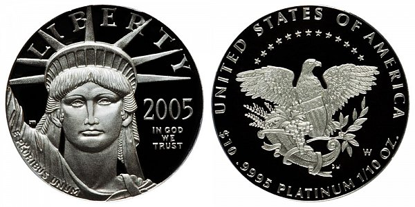 2005 W Proof Tenth Ounce American Platinum Eagle - 1/10 oz Platinum $10