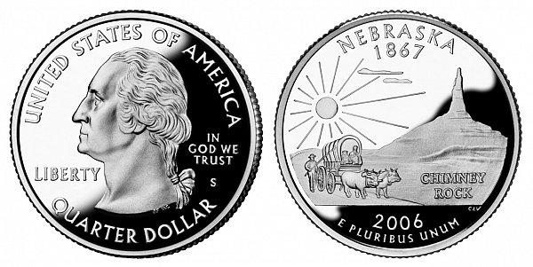 2006 S Silver Proof Nebraska State Quarter