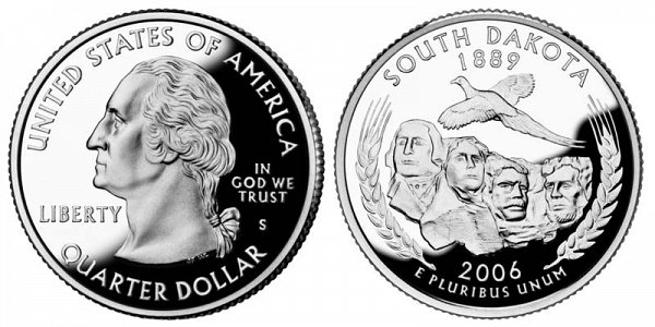 2006 S Silver Proof South Dakota State Quarter