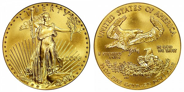 2006 W Burnished Uncirculated Half Ounce American Gold Eagle - 1/2 oz Gold $25