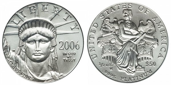 2006 W Burnished Uncirculated Half Ounce American Platinum Eagle - 1/2 oz Platinum $50
