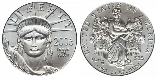 2006 W Burnished Uncirculated Quarter Ounce American Platinum Eagle - 1/4 oz Platinum $25
