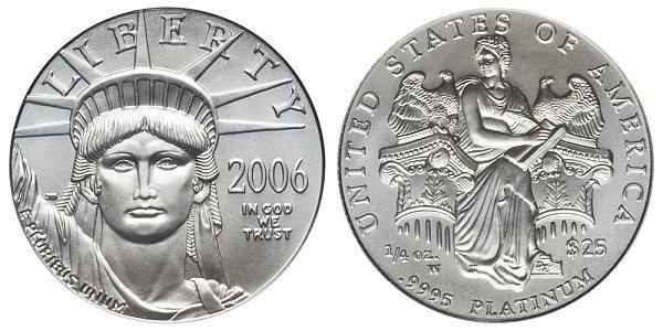 2006 W Burnished Uncirculated Quarter Ounce American Platinum Eagle - 1/4 oz Platinum $25