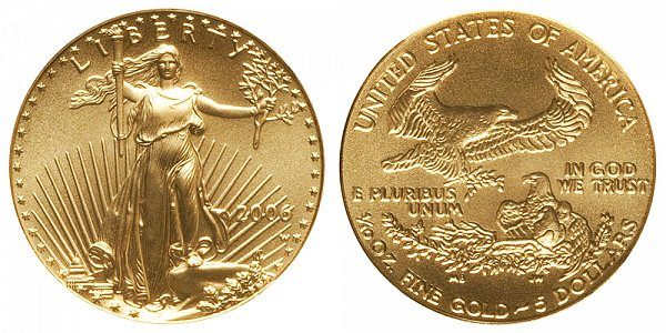 2006 W Burnished Uncirculated Tenth Ounce American Gold Eagle - 1/10 oz Gold $5