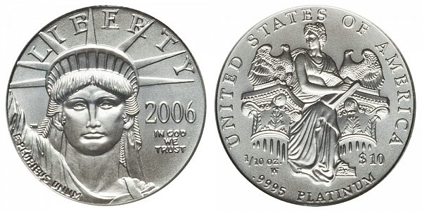 2006 W Burnished Uncirculated Tenth Ounce American Platinum Eagle - 1/10 oz Platinum $10
