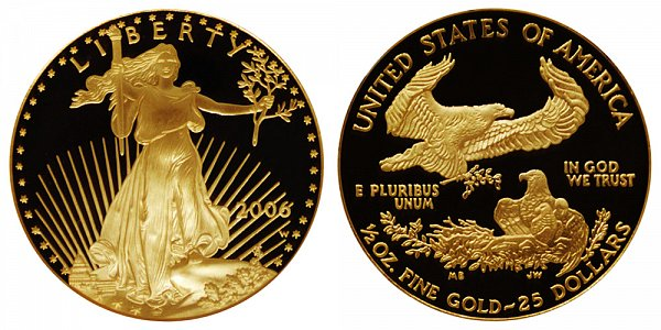 2006 W Proof Half Ounce American Gold Eagle - 1/2 oz Gold $25