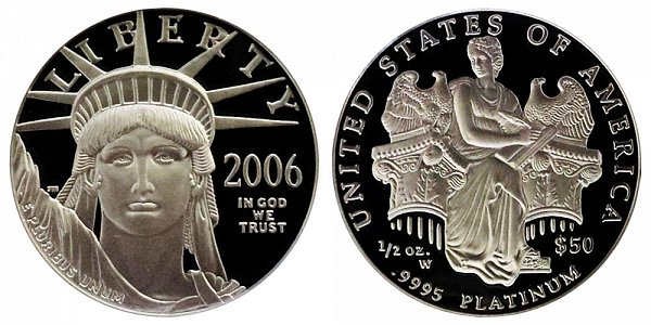2006 W Proof Half Ounce American Platinum Eagle - 1/2 oz Platinum $50