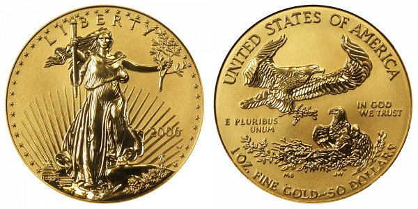 2006 W Reverse Proof One Ounce American Gold Eagle - 1 oz Gold $50