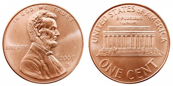 2007 D Lincoln Memorial Cent Penny