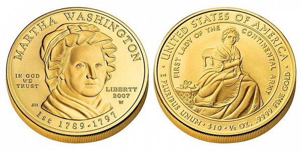 2007 Martha Washington First Spouse Gold Coin