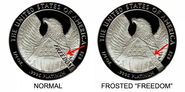 2007 W Normal Proof vs Frosted Freedom Proof - American Platinum Eagle - Difference and Comparison