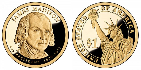 2007 S Proof James Madison Presidential Dollar Coin