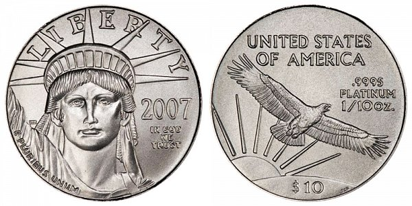 2007 Tenth Ounce American Platinum Eagle - 1/10 oz Platinum $10