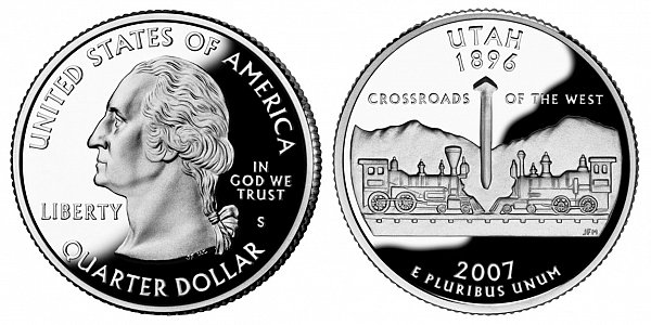 2007 S Silver Proof Utah State Quarter