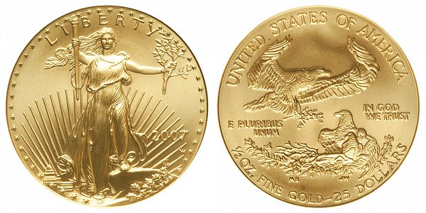 2007 W Burnished Uncirculated Half Ounce American Gold Eagle - 1/2 oz Gold $25