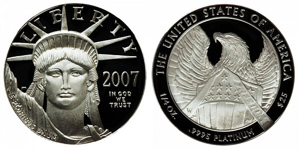 2007 W Proof Frosted FREEDOM Quarter Ounce American Platinum Eagle - 1/4 oz Platinum $25