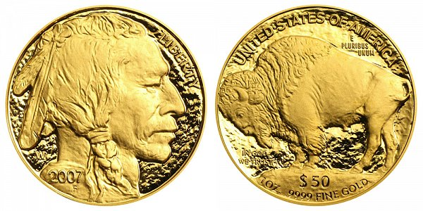 2007 W Proof One Ounce Gold American Buffalo - 1 oz Gold $50