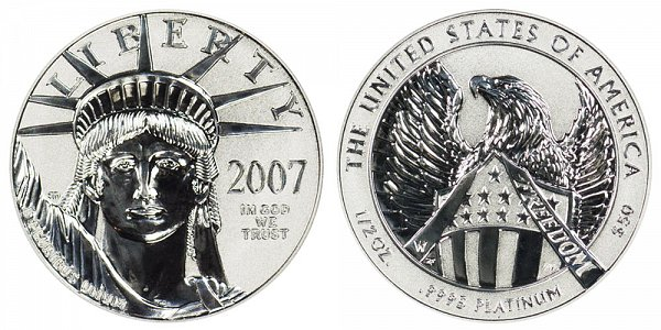 2007 W Reverse Proof Half Ounce American Platinum Eagle - 1/2 oz Platinum $50