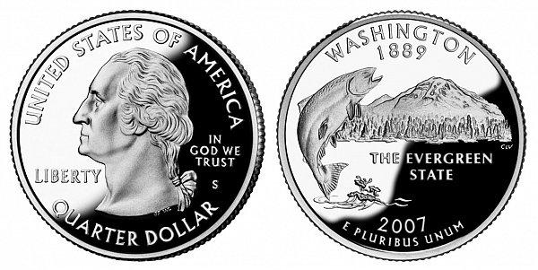 2007 S Silver Proof Washington State Quarter
