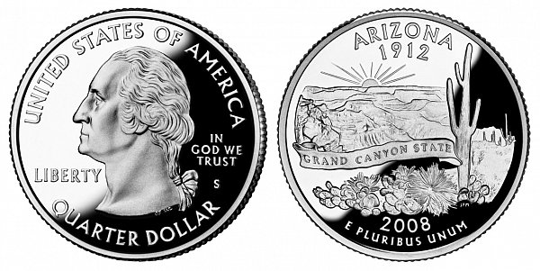 2008 S Proof Arizona State Quarter