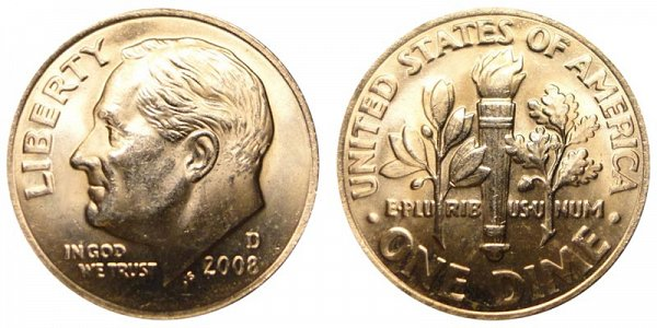 2008 D Roosevelt Dime