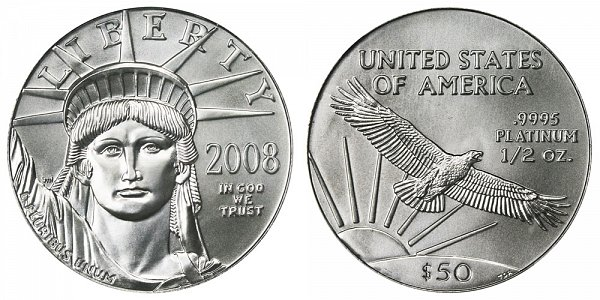 2008 Half Ounce American Platinum Eagle - 1/2 oz Platinum $50