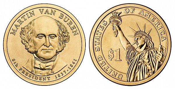 2008 D Martin Van Buren Presidential Dollar Coin